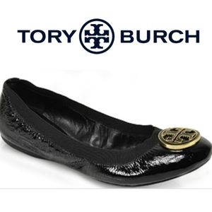 Tory Burch Caroline Black Patent Leather Flats